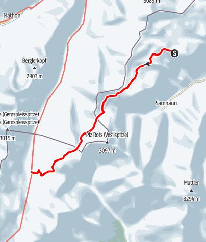 Karte / Höhenwanderung Heidelberger Hütte - Alp Trider Sattel