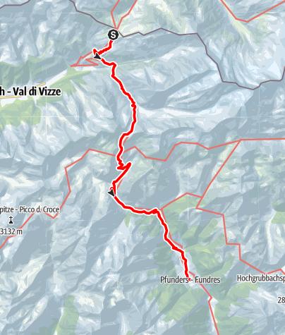 Karte / Via Venezia Scharnitz - Venedig 9. Etappe: Pfitscherjoch - Gliderscharte - Pfunders