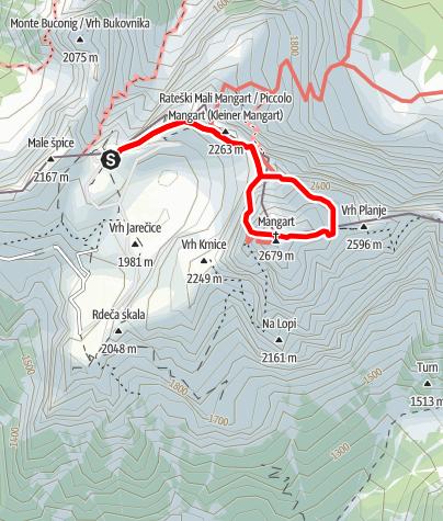 Karte / Mangart, 2679 m