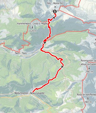 Karte / Viertageswanderung Rosengarten/Schlern - 4. Etappe