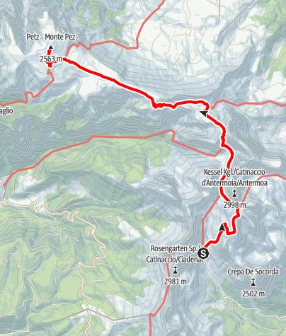 Karte / Viertageswanderung Rosengarten/Schlern - 3. Etappe