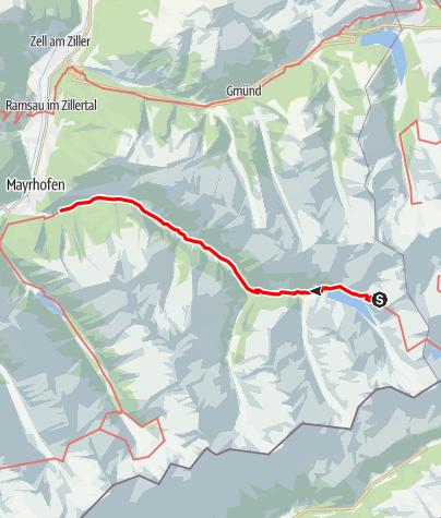 Karte / 02 Zentralalpenweg West, E16: Etappe: Plauener Hütte – Mayrhofen