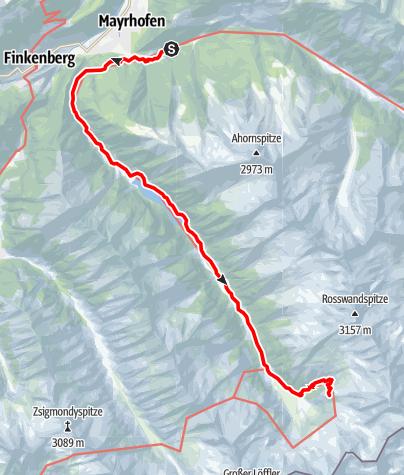 Karte / 02 Zentralalpenweg West, E17: Mayrhofen – Kasseler Hütte