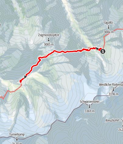 Karte / 02 Zentralalpenweg West, E19: Greizer Hütte – Berliner Hütte