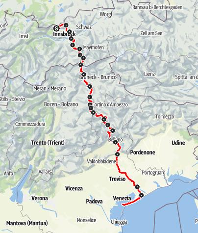 Karte / Via Venezia Alpina: Scharnitz - Venedig