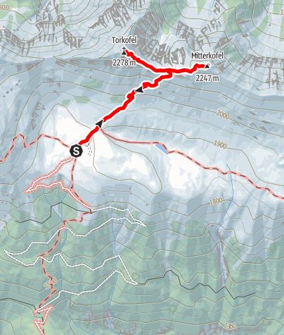 Map / Von der Jaukenalm (1934 m) zum Torkofel (2276 m), Mitterkofel (2247 m) und zurück