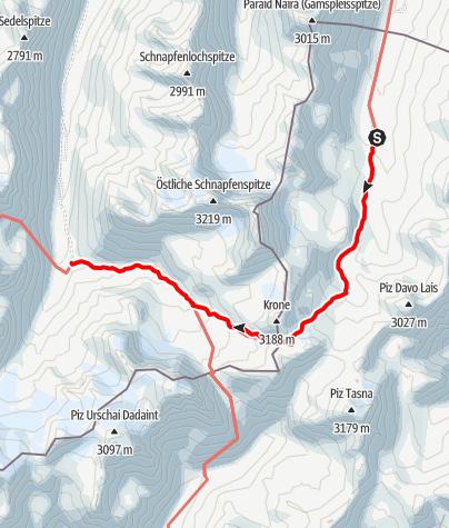 Karte / Silvretta-Runde, Etappe 2: Heidelberger Hütte - Jamtal Hütte.