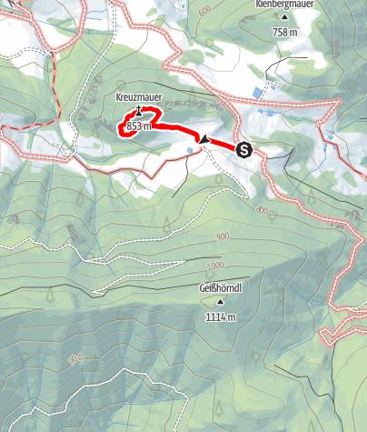 Map / Kreuzmauer Südwest Grat (UIAA III)