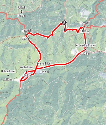 Karte / Hochalm aus dem Utschgraben über Eisenpass und Herrenkogel