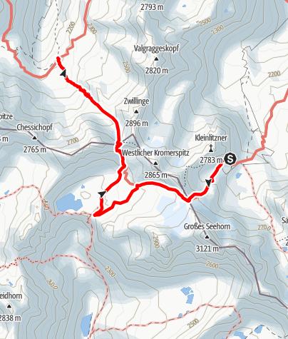 Karte / Silvretta-Runde, Etappe 6: Saarbrücker Hütte - Tübinger Hütte