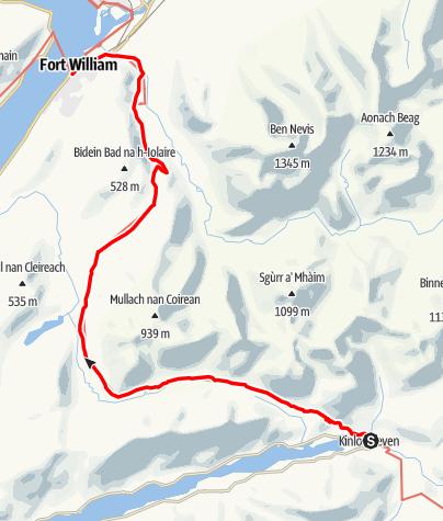 Karte / Kinlochleven to Fort William