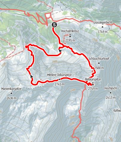Karte / Überschreitung der  Ödkarspitzen zur  Birkkarspitze