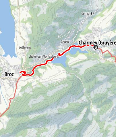 Karte / Von Charmey durch die Jaunbachschlucht nach Broc