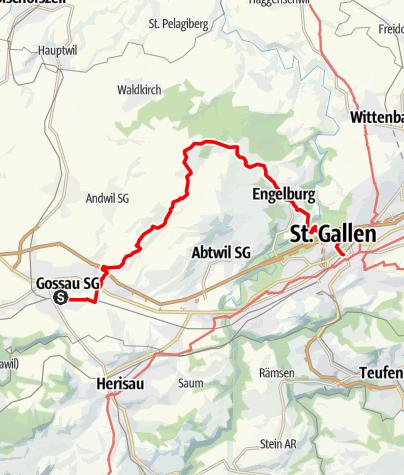 Map / Gossau - Tannenberg - St.Gallen