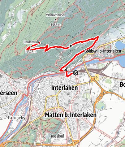 Map / Interlaken - Goldswil - Bleiki - Harder Kulm