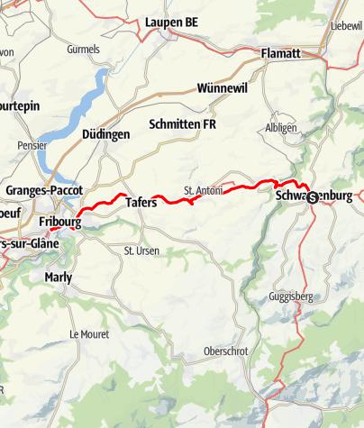 Map / Via Jacobi: Schwarzenburg - Fribourg