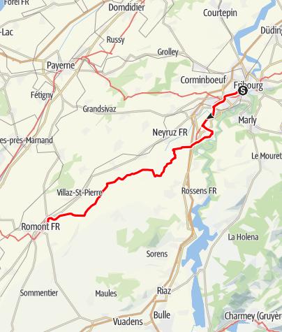 Map / Via Jacobi: Fribourg - Romont