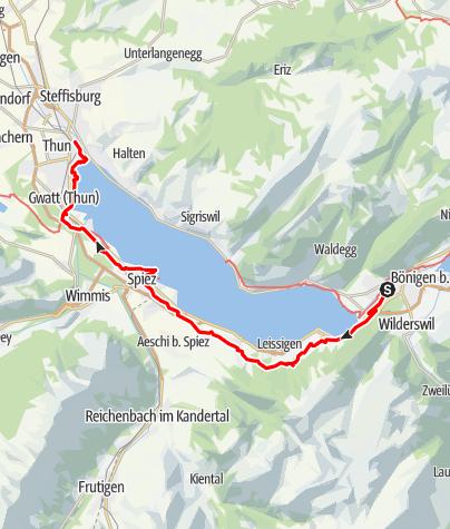 Map / High above Lake Thun: Interlaken - Thun