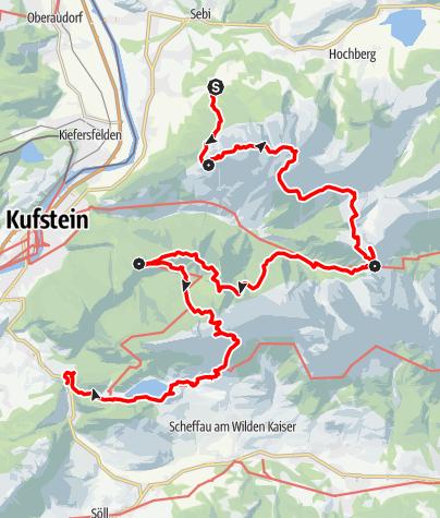"""Karte / Kaisertour - Die """"kaiserliche"""" Traumtour für Jung und Alt (Hüttentour)"""