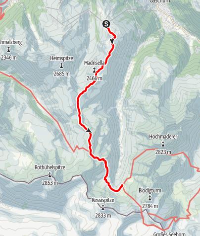 Karte / Silvrettarunde Montafon - Bergstation Versettla Bahn bis Tübinger Hütte
