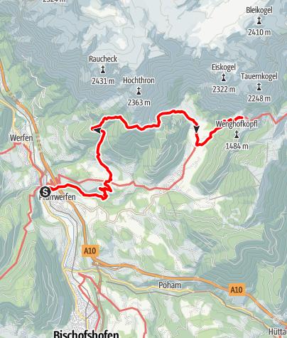 Map / Zustieg auf die Dr.-Heinrich-Hackel-Hütte von Pfarrwerfen auf dem Salzburger Almenweg