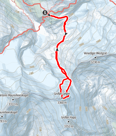 Karte / Großer Geiger (3360 m) - Nordgrat