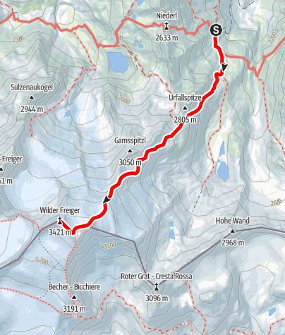 Map / Nürnberger Hütte- Wilder Freiger-u.zurück