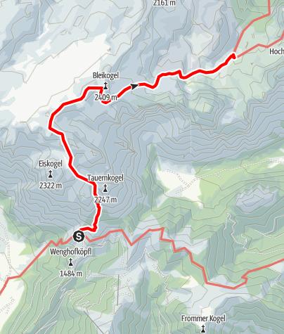 Karte / Übergang von der Dr.-Heinrich-Hackel-Hütte zur Laufener Hütte