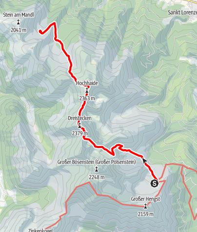 Karte / Übergang von der Edelrautehütte über den Dreistecken (2.382 m) und die Hochhaide (2.363 m) zur Rottenmanner Hütte