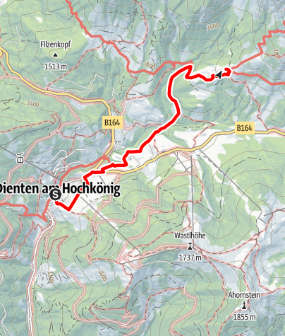 Karte / Zustieg auf die Erichhütte von Dienten am Hochkönig