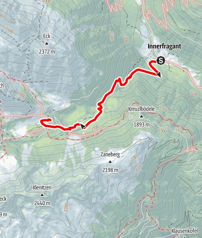 Karte / Zustieg auf das Fraganter Schutzhaus von Innerfragant