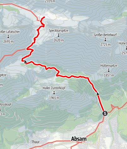 Karte / Hallerangerhaus - Zustieg von Absam
