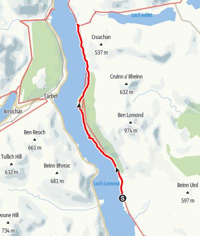Karte / Rowardennan to Inversnaid
