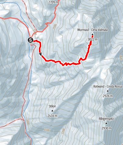 Karte / Von der Brixnerhütte auf die Wurmaulspitze