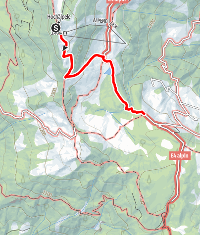 Map / Übergang von der Hochälpelehütte zur Lustenauer Hütte