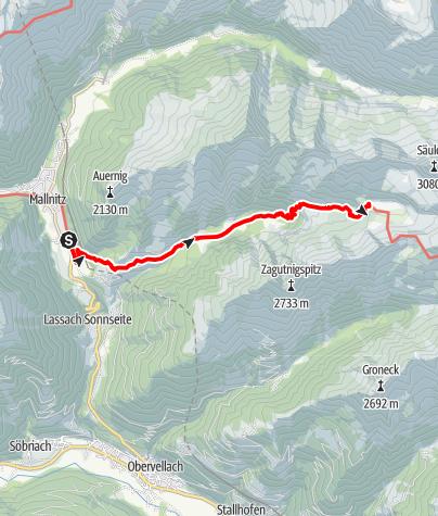 Karte / Aufstieg zum Arthur-von-Schmid-Haus vom Bahnhof Mallnitz