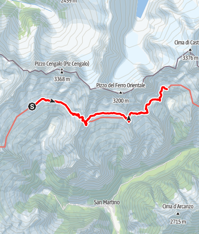 Karte / Sentiero Roma Etappe 3 – Von der Capanna Gianetti zur Capanna Allievi