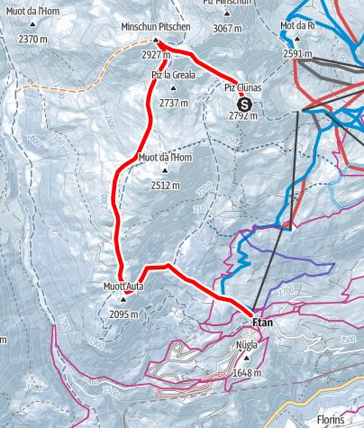 Karte / Minschun Pitschen (2927 m.ü.M.)