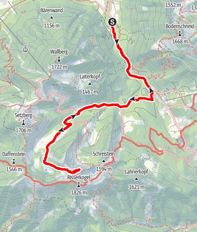 Map / Blankenstein (1.768 m) Ostgrat - Gratüberschreitung in den bayerischen Voralpen