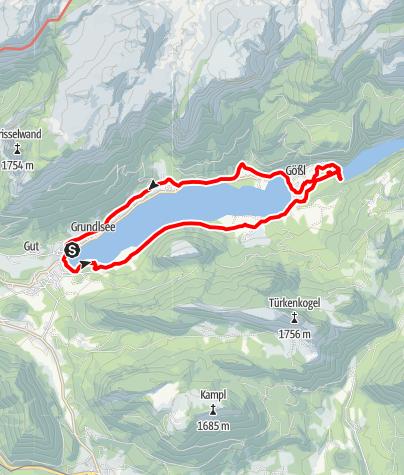 Map / Grundlsee Circumnavigation with Toplitzsee