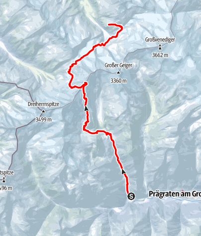 Map / Venedigerrunde - Etappe 1+2: Streden - Essener-Rostocker-Hütte - Mittl. Maurerkeeskof - Kürsinger Hütte