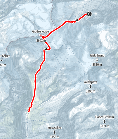 Map / Venedigerrunde - Etappe 4: Neue Prager Hütte - Großvenediger - Johannishütte