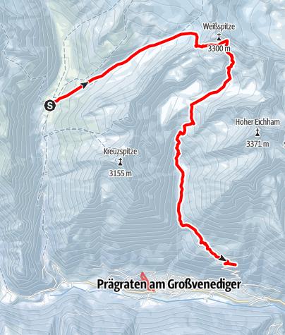 Map / Venedigerrunde - Etappe 5: Johannishütte - Weißspitze – Parkplatz Bodenalm