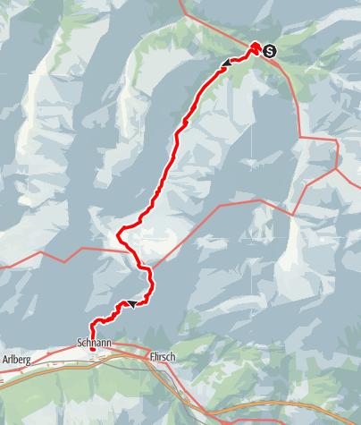 Karte / Madau - Ansbacher Hütte - Schnann
