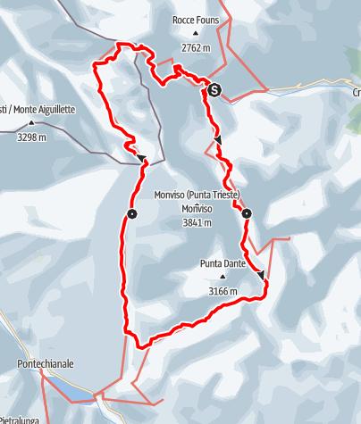 Karte / Giro del Monviso - Die Monviso-Tour