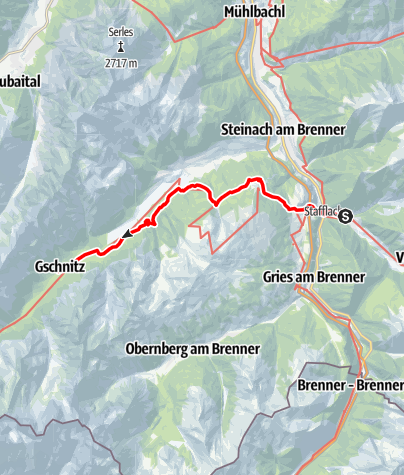 Karte / 02 Zentralalpenweg West, E23: St. Jodok am Brenner - Gschnitz