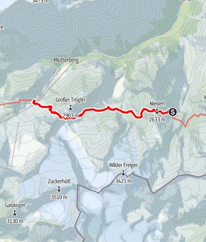 Map / 02 Zentralalpenweg West, E25: Nürnberger Hütte – Dresdner Hütte