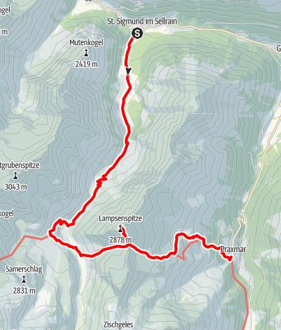 Karte / Pforzheimer Hütte: Vom Sellrain- ins Lüsenstal