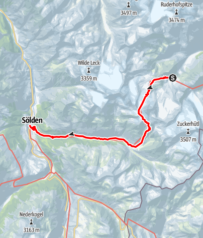 Karte / 02 Zentralalpenweg West, E26: Dresdner Hütte – Sölden