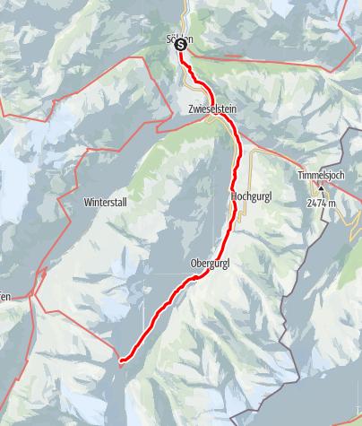 Karte / 02 Zentralalpenweg West, E27: Sölden – Ramolhaus